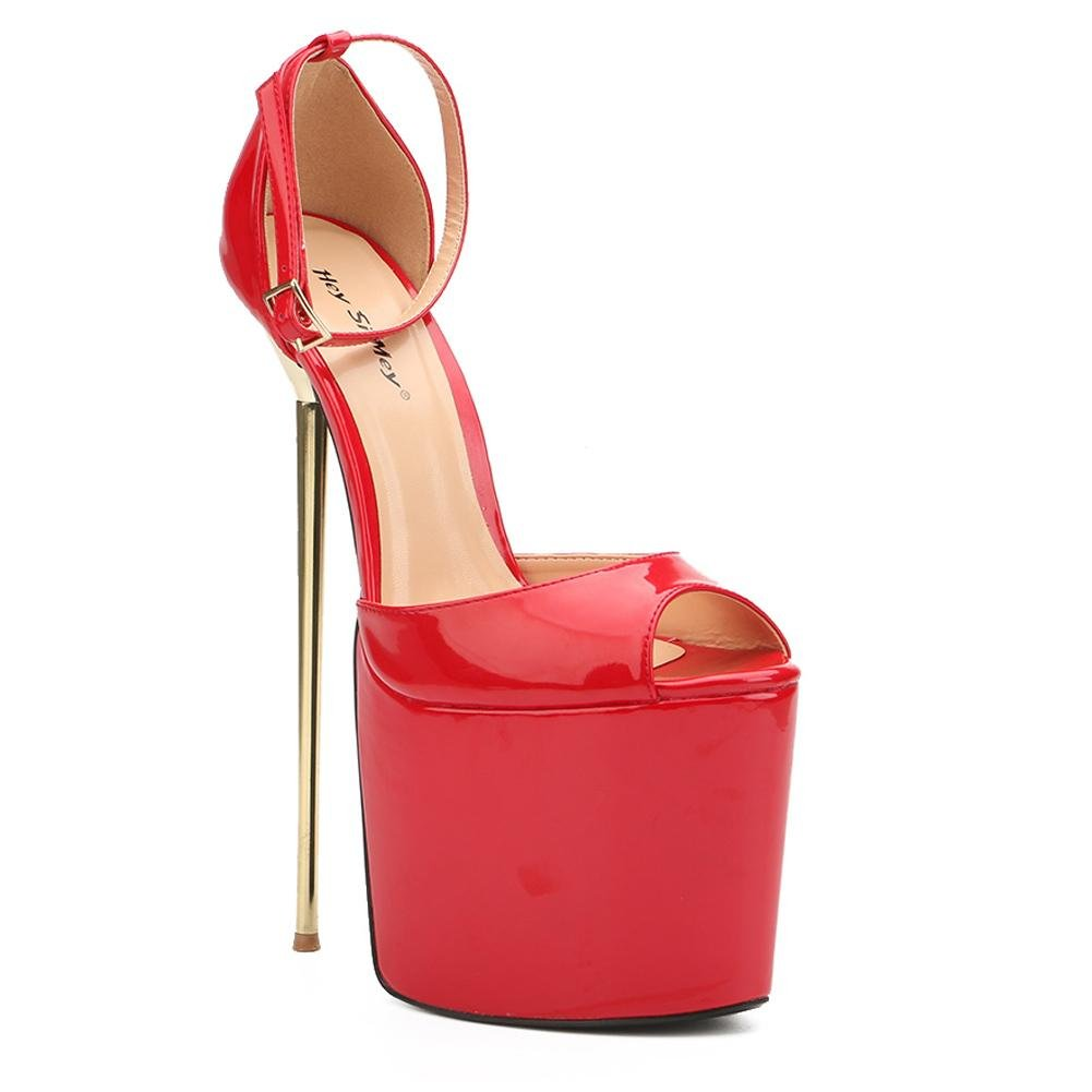 Tacones Altos de Mujer 22cm de ACERO Fino Ultra Alto con Zapatos formales Spring Fall PU Dress Party and Evening 43 EU|Red