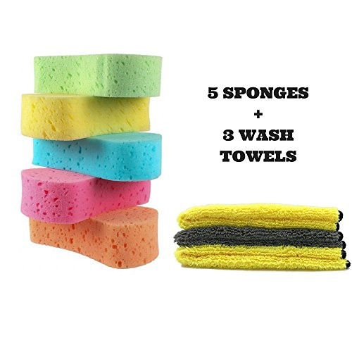 Car Cleaning 5 Wash Sponge with 3 Microfiber Towel Cloth