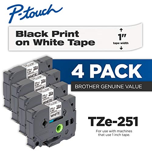 (Brother Genuine P-Touch 4-Pack TZe-251 Laminated Tape, Black Print on White Standard Adhesive Laminated Tape for P-Touch Label Makers, Each Roll is 0.94