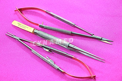 PREMIUM GERMAN STAINLESS SET OF 3 Castroviejo Micro Scissors Needle Holder STRAIGHT + Micro Forceps Dental EYE Instruments