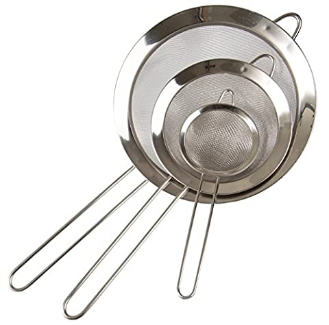 Set of 3- Fine Mesh Stainless Steel Strainers - Premium Quality - Colander Sieve with Handle - By Kitchen - Round Hole Strainer