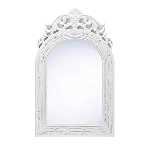 "20"" Shabby Chic Wood Arched-Top Wall Mirror"