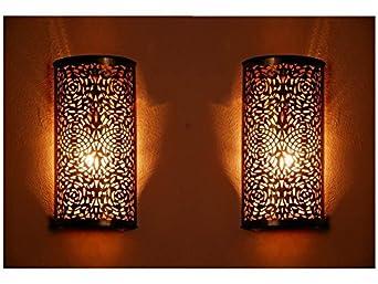 Inspiration World Moroccan wall Decor Lantern GOLD Set/2 FREE LED Light