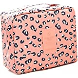 Rurah Fashion Multi -Functional Make Up Bag Cosmetic Makeup Brush Organizer with Carry Handle For Travel & Home ,Pink