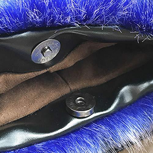 Hiver Bleu Bleu Cercle Duveteux Bandoulière À Main Femme De Sac lac Royal D'épaule Grand Yofo Femmes Fausse Peluche Fourrure Poignée qCRTXUnwx