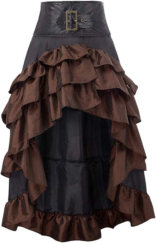 QIjinlok Faldas Medievales para Mujer Falda Asimétrica para Mujer ...