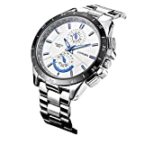 LONGBO Men's Unique Military Big Face White Dial Analog Quartz Business Watch Luminous Waterproof Stainless Steel Band Wrist Watch Special Blue Hands Decorative Chrono Eyes Sport Watches for Man