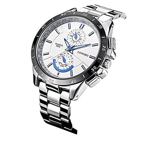 LONGBO Men's Unique Military Big Face White Dial Analog Quartz Business Watch Luminous Waterproof Stainless Steel Band Wrist Watch Special Blue Hands Decorative Chrono Eyes Sport Watches for (Chrono Watch Sport)