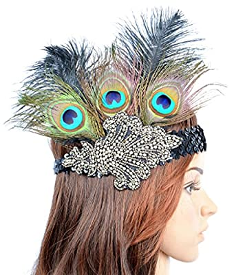 AM CLOTHES Halloween Costume Accessory Womens Fashion Retro Fascinator with Sequin and Feather