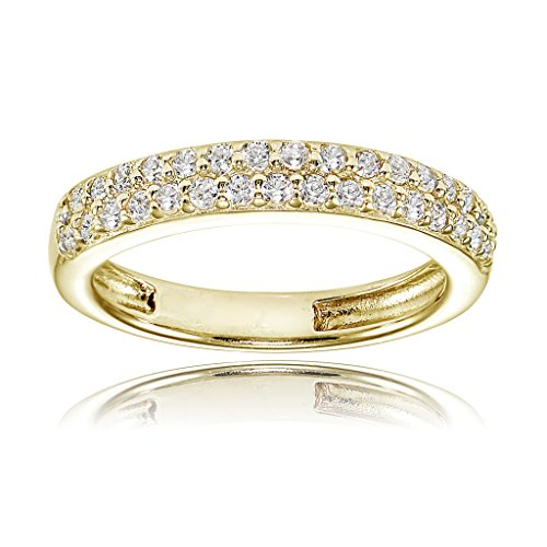Yellow Gold Flashed Sterling Silver Cubic Zirconia 2-row Round-cut Eternity Band - 2day Shipping Free