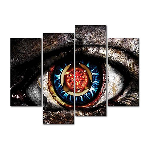 Canvas Print Wall Art Decor Artistic Eye Picture Red And Blue Eyeball Pictures Abstract Artwork 3D Eyes Poster Prints Stretched On Wooden Frame 4 Panel Image For Home Living Room - Abstract Artistic