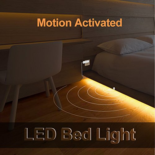 Under Bed Light Motion Activated Bed Light 4ft LED Strip with Motion Sensor and Power Adapter, Bedroom Night Light Amber for Baby, Crib, Bedside, Stairs, Cabinet and Bathroom