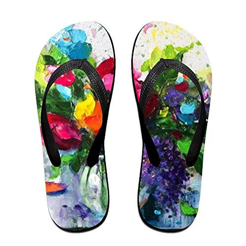Flops Flip Oil Women Kids Black Flowers Men PTJHKET Painting for Slippers 4O5qx4Ewd