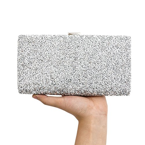 Bling Rhinestone Evening Party Dinner Bags Clutch Prom Crossbody Chain Wristlet (Wristlet Evening Bag Purse)
