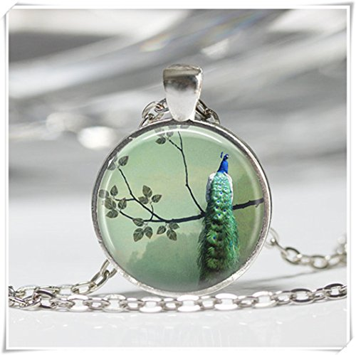 Peacock Necklace Bird Jewelry Peacock Perched in Tree Emerald Green Art Pendant