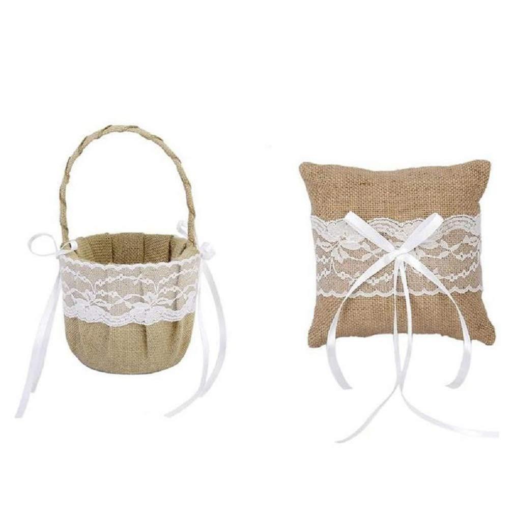 The Crafty Owl Burlap Jute & Lace Flower Basket, Ring Bearer Pillow Set