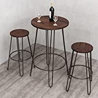 3 Piece Small Space Dining Table & Chair Set Bar Height Pub Table Modern Rustic Chic Furniture