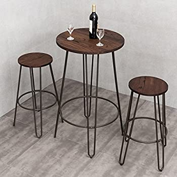 Amazon.com - 3 Piece Small Space Dining Table & Chair Set Bar Height ...