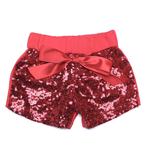 Digirlsor Baby Girls Sequin Shorts Toddler Kids Bowknot Cotton Short Pants Sparkles on Front,1-8Y