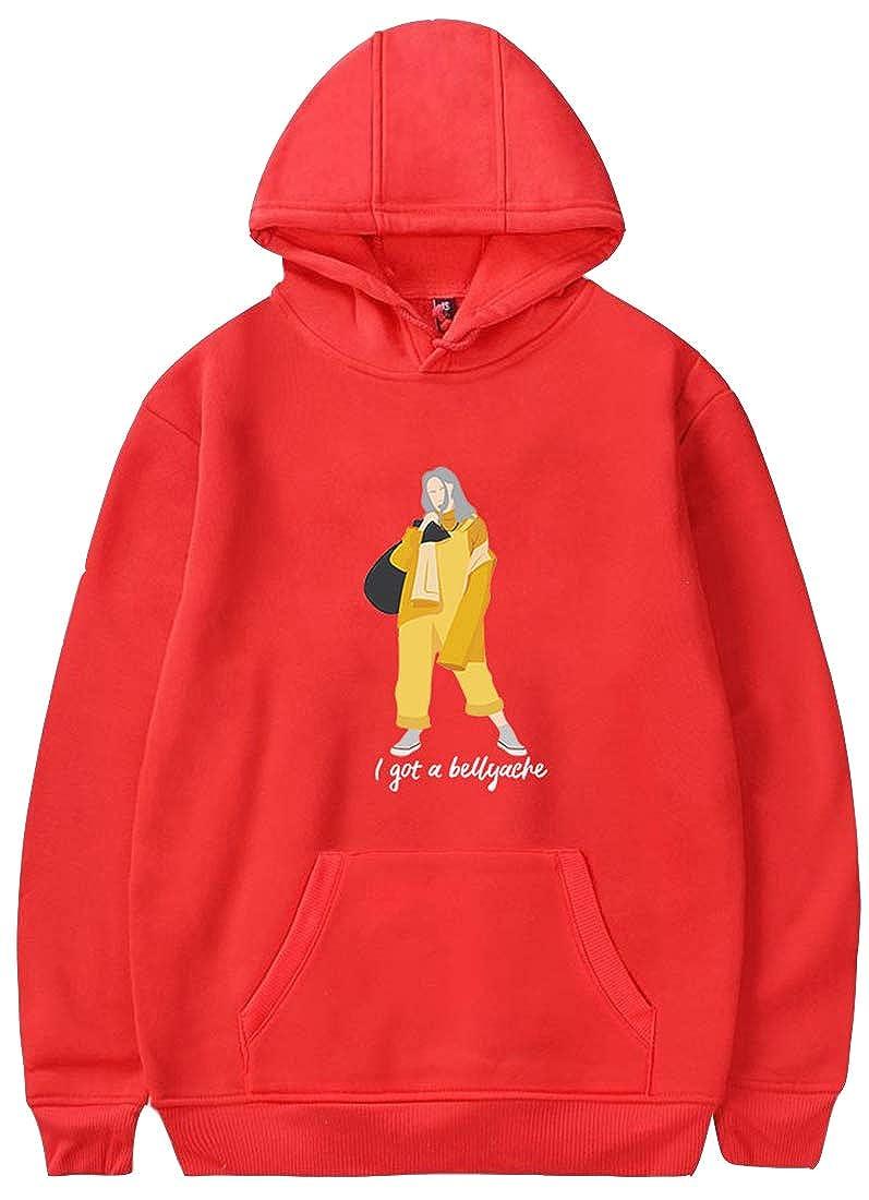 FLYCHEN Girls Hoodies Billie Eilish Graphic 3D Printed Logo Dont Smile at me Cool Streetwear Hooded Sweatshirt