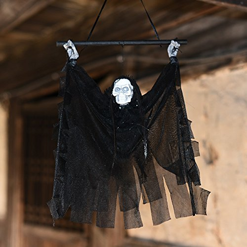 VT BigHome Creepy Scary Animated Skeleton Haloween Hanging Ghost Voice Control Door Decoration Creepy Haunted Props Light Up Hanging Ghoul by VT BigHome