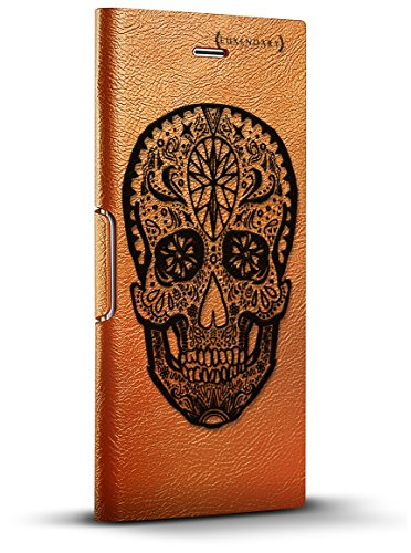 Luxendary Mexican Native Tribal Skull Design iPhone X Leather Wallet Case - Tawny Brown (Leather Skull Tribal)