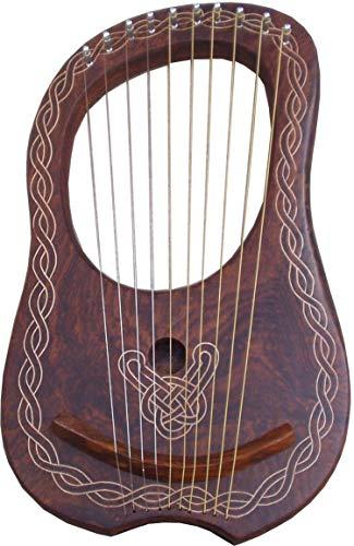 HS Lyre Harp 10 Metal String Instrument Shesham Wood/Lyra Harps/Lyre Harfe/Arpa (CELTIC PIPING HARP) ()