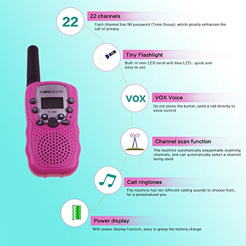 BELLSOUTH T388 2 Piece T-388 3-5KM 22 FRS and GMRS UHF Radio for Child Walkie-Talkie by BellSouth (Image #7)
