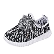 CAIKO Baby Boy Girls Breathable Kint Lace-up Running Shoes,Walking,Outdoor,Exercises,Athletic Sneakers EU30 White