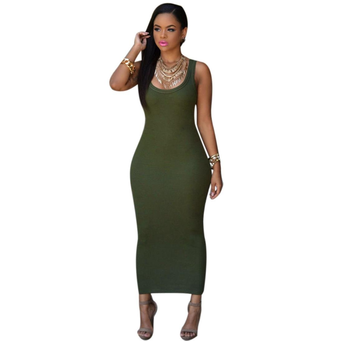 Usstore Women Dress Bandage Bodycon Party Cocktail Maxi Long Dresses (Asia S, Army Green)