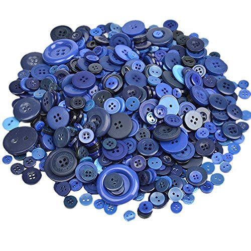 MOPOLIS 600Pcs Mixed Color 4-holes Buttons Sewing Craft Scrapbooking DIY Amazing | Color - Dark Blue