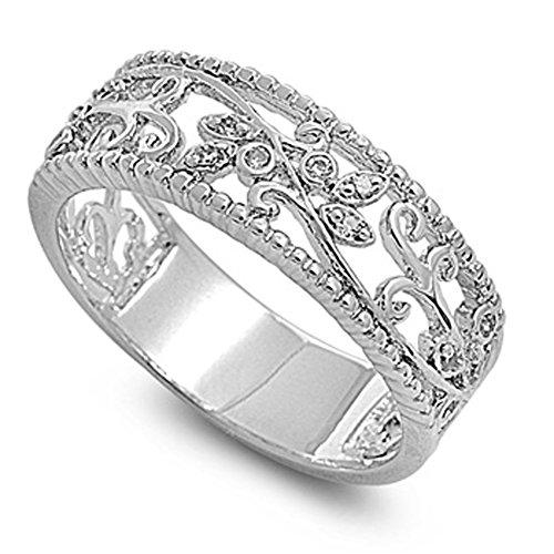Wide Filigree Swirl Ring - Clear CZ Leaf Swirl Filigree Polished Ring Sterling Silver Thumb Band Size 6