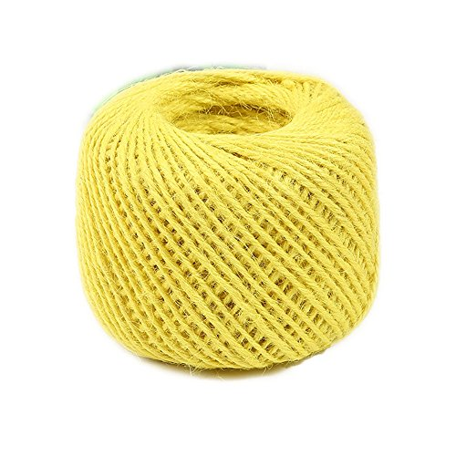 (Diyjoys Yellow Color 50 yards per roll Natural Jute twine 2.0mm string for art craft gift)