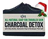 Facial Cleanser Soap - Charcoal Soap Bar with Shea Butter for Face, Acne, Blackheads, Eczema, Psoriasis | 100% All-Natural Vegan. Fragrance-Free. Non-GMO. Handmade. Facial Cleanser Black Soap for Oily Skin. 5 oz.