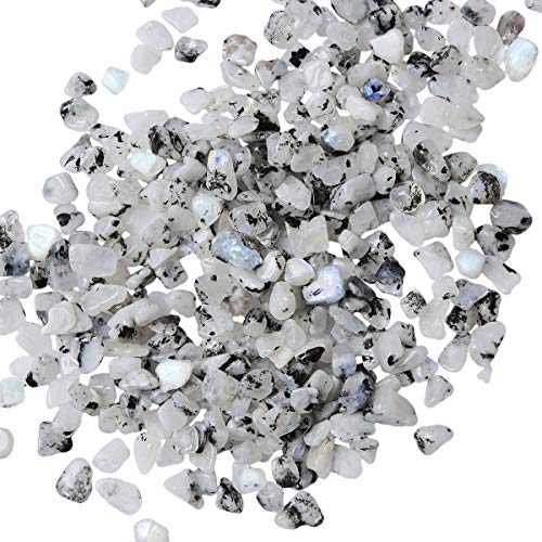 rockcloud 1 lb Moon Stone Tumbled Chips Crushed Stone Healing Reiki Crystal Jewelry Making Home Decoration (The Stone Moon)
