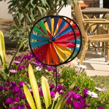 Wind spinner - Magic Wheel Twin 25 - UV-resistant and weatherproof - wind wheel: 2xØ 10 inch, height: 25.5 inch - incl. fibreglass pole Colours in Motion NP463510