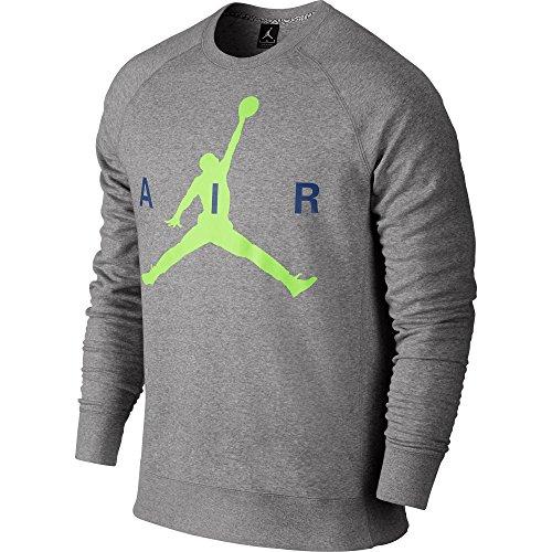 Jordan Air Jumpman Graphic Brushed Crew Mens' Sweatshirt Grey/Volt/Blue 689014-063 (Size 2X)