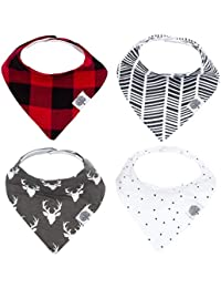 Parker Baby Bandana Drool Bibs – 4 Pack Baby Bibs for...