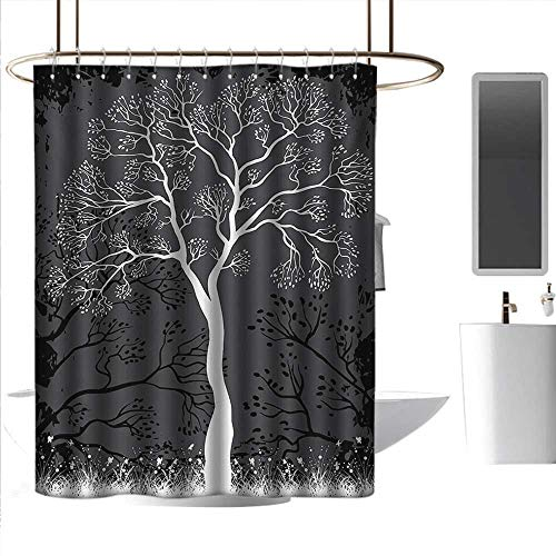 alisoso Bathroom Curtain Grey,Artistic Tree Illustration with Growing Branches Merry Seasonal Grass Bushes Nature,Grey White Bathroom Curtain with 12 Hooks W48 x L72 Inch ()
