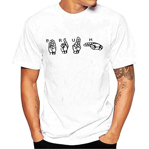 Price comparison product image SSYUNO Men Boy Plus Size Print Tees Short Sleeve Cotton Tall Size Crew-Neck T Shirt Blouse Tops