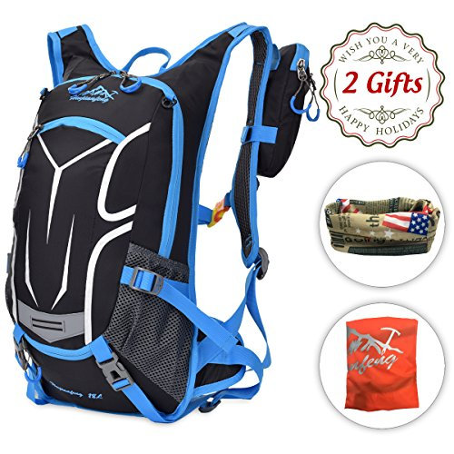 Longwider Cycling Running Backpack - 18L Hydration Camel Pack Waterproof Bike Bag, Small Daypack for Hiking Motorcycle Camping Skiing, Outdoor Gifts for Men Husband Son Kids Birthday Christmas, Blue