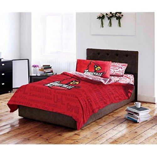 Cardinals Louisville Comforter (D&H 4 Piece NCAA University of Louisville Cardinals Comforter Twin Set, Sports Patterned Bedding, Featuring Team Logo, Fan Merchandise, Team Spirit, College Basket Ball Themed, Black Red, For Unisex)