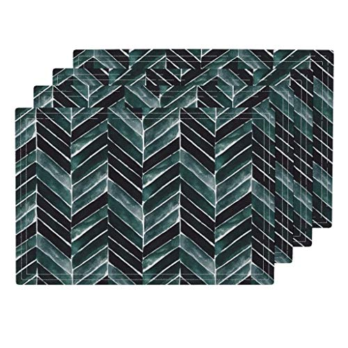Chevron 4pc Organic Cotton Sateen Cloth Placemat Set - Green Blue Stripe Herringbone Teal Roosteryse2018 by Crystal Walen (Set of 4) 13 x 19in