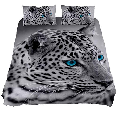 LORVIES Black and White Jaguar Duvet Cover Sets Decorative 3 Piece Bedding Sets with Pillow Shams for Men Women Boys Girls Kids Teens