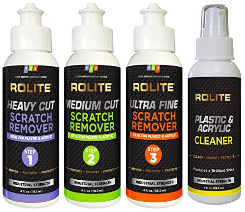 Acrylic Scratch Removal (Rolite's 4 Step Scratch Removal System for Plastic & Acrylic (4 fl. oz.) with Cleaner, Heavy Cut, Medium Cut and Ultra Fine Combo Pack)