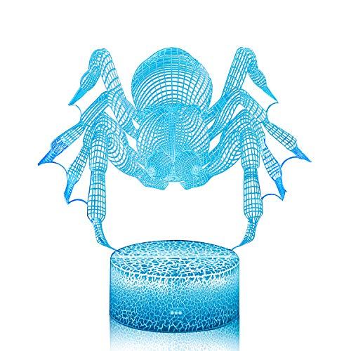 3D Illusion Spider Night Lamp, 7 Color Change, Touch White Base, Power by AA Batteries