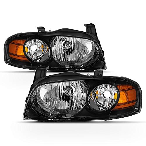 ACANII - For 2004 2005 2006 Nissan Sentra Headlights Headlamps Black Housing Replacement Driver + Passenger Side