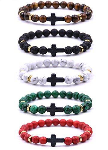 - EVELICAL 5Pcs Bead Bracelet for Men Women Lava Rock Stone Cross Bracelet Elastic