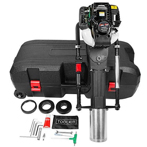 XtremepowerUS 38cc Gas-Powered T Post Driver Fence Post Driver Gasoline Piling 4-Stroke EPA Certificated w/Rolling Case