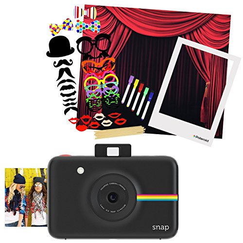 Polaroid SNAP Instant Camera (Black) + Polaroid All-In-One Photo Booth Kit - Includes Backdrop, Fun Photo Props & Polaroid-Styled Frame - Perfect for Parties, Family Affairs & Corporate Events -